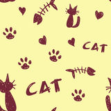 Cat Pattern. A seamless pattern of cat shapes. paw prints and fish bones on a pale yellow background Stock Illustration