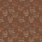 Cat pattern on brown background Royalty Free Stock Photo