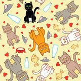 Cat pattern. Funny cat seamless pattern on yellow background Stock Images