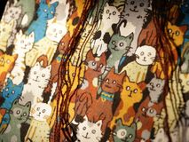 Cat Pattern - Real Fabric Texture royalty free illustration