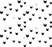 Cat pattern. Vector seamless pattern with illustrations of simple cat heads silhouette Stock Images