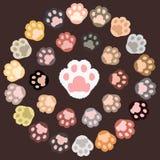Cat paw frames. Cat paw. Cartoon vector frames royalty free illustration
