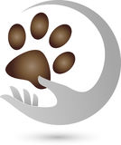 Cat Paw and Hand, Cat Logo. Cat Paw and Hand, Colored, Cat Logo Stock Photography