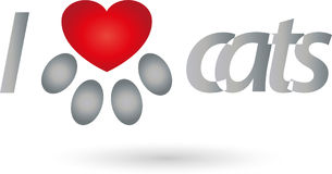 Cat Paw and Heart, Heart for Cats Logo. Cat Paw and Heart, Colored, Heart for Cats Logo Royalty Free Stock Images