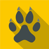 Cat paw icon, flat style Stock Images