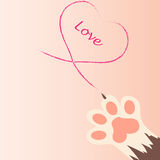 Cat paw print with claws. Original trendy vector illustration of a cat paw print with claws, love heart Stock Photos