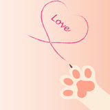 Cat paw print with claws. Original trendy vector illustration of a cat paw print with claws, love heart Royalty Free Stock Image