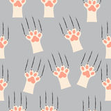 Cat paw print with claws. Original trendy vector seamless pattern with cat paw print with claws Stock Images