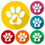 Cat Paw Print icons set with long shadow. Vector icon Stock Photos