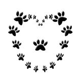 Cat paw print love heart  Stock Photography