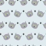 Cat and paw print pattern Stock Photos