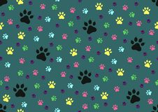 Cat paw prints seamless background - cdr format. Cat colourful paw prints seamless background royalty free illustration