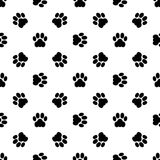 Cat paw seamless. Black seamless of footstep cat paws. Vector illustration Royalty Free Stock Photos