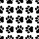 Cat paw seamless. Black seamless of footstep cat paws. Vector illustration Royalty Free Stock Photo