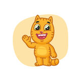 Cat Paw Waving y sonrisa stock de ilustración