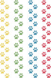 Cat paws. In the colour yellow, green, blue and red Stock Images