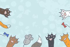 Cat paws background vector. Doodle sketch style Stock Image