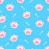 Cat paws. Vector. Seamless pattern. Blue background. Cat paws. Vector illustration Seamless pattern. Blue background Royalty Free Stock Photos