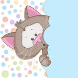 Cat. Peeking out from behind the clouds vector illustration