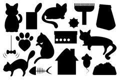 Cat pet  illustration, with cat food, cat toy, cat paw mark and cat house. Cat pet  illustration, cat food, cat toy, cat paw mark and house black on white clip Stock Images