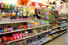 Cat Pet Products in a pet supermarket. Royalty Free Stock Images