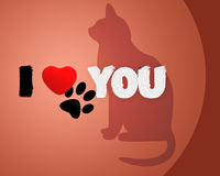 Cat with phrase i love you Royalty Free Stock Photography