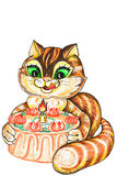 Cat and pie. Cat with a holiday pie on a white background Stock Photos