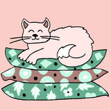 The cat on the pillow. High quality original illustration of cat on pillows Royalty Free Stock Photos