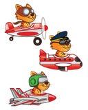 Cat Pilot. Illustration of Cute Cat Pilot on Jet Plane, old plane, and commercial plane vector illustration