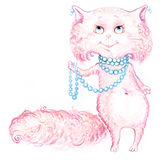 Cat pink catty hand drawing Royalty Free Stock Photos
