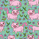 Cat pink cute green land seamless pattern Stock Photos