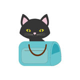 Cat pink ears green eyes blue pet carrier bag travel. Illustration eps 10 Royalty Free Stock Images