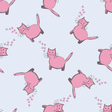 Cat with pink hearts on a blue background. Seamless pattern. Stock Photos