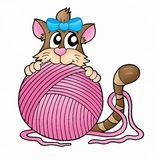 Cat with pink skein Royalty Free Stock Image