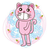 Cat pink stand Stock Photo