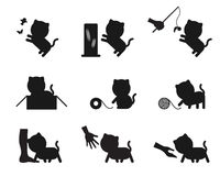 Cat playing action story silhouette icons set Royalty Free Stock Image
