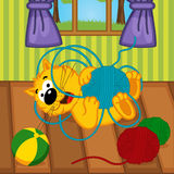 Cat playing with ball of yarn in room. Vector illustration, eps Stock Images