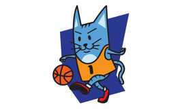 Cat Playing Basketball Image libre de droits