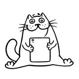 The cat is playing on a digital tablet. Isolated vector illustration. Stock Image