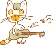 Cat Playing divertente la chitarra Illustrazione di vettore Parte di una serie Immagine Stock Libera da Diritti