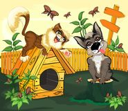 The cat playing with the dog royalty free illustration