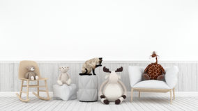 Cat playing with doll reindeer bear and giraffe in kid room - 3D Stock Photos