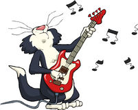 Cat playing. On electric guitar Stock Photography