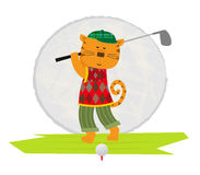 Cat Playing Golf vektor illustrationer