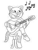 Cat playing guitar Royalty Free Stock Images