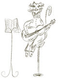 Cat playing guitar sketch Stock Image