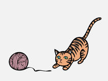 Cat playing knit Royalty Free Stock Photos