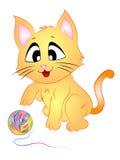 Cat Playing med ull stock illustrationer