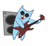 Cat  plays guitar. Cat in sunglasses plays guitar Royalty Free Stock Photos