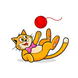 Cat Plays with Yarn Ball Vector. Cute Cat plays with the Ball of Yarn. Funny cartoon pet vector illustration Stock Image